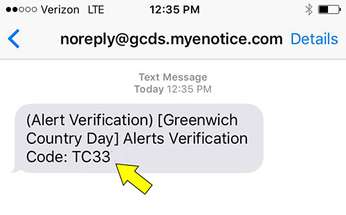 Screenshot of alert text