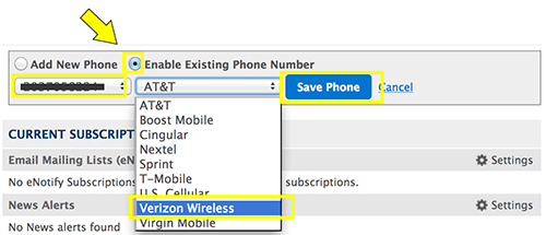 Image: Selecting existing phone for text alerts