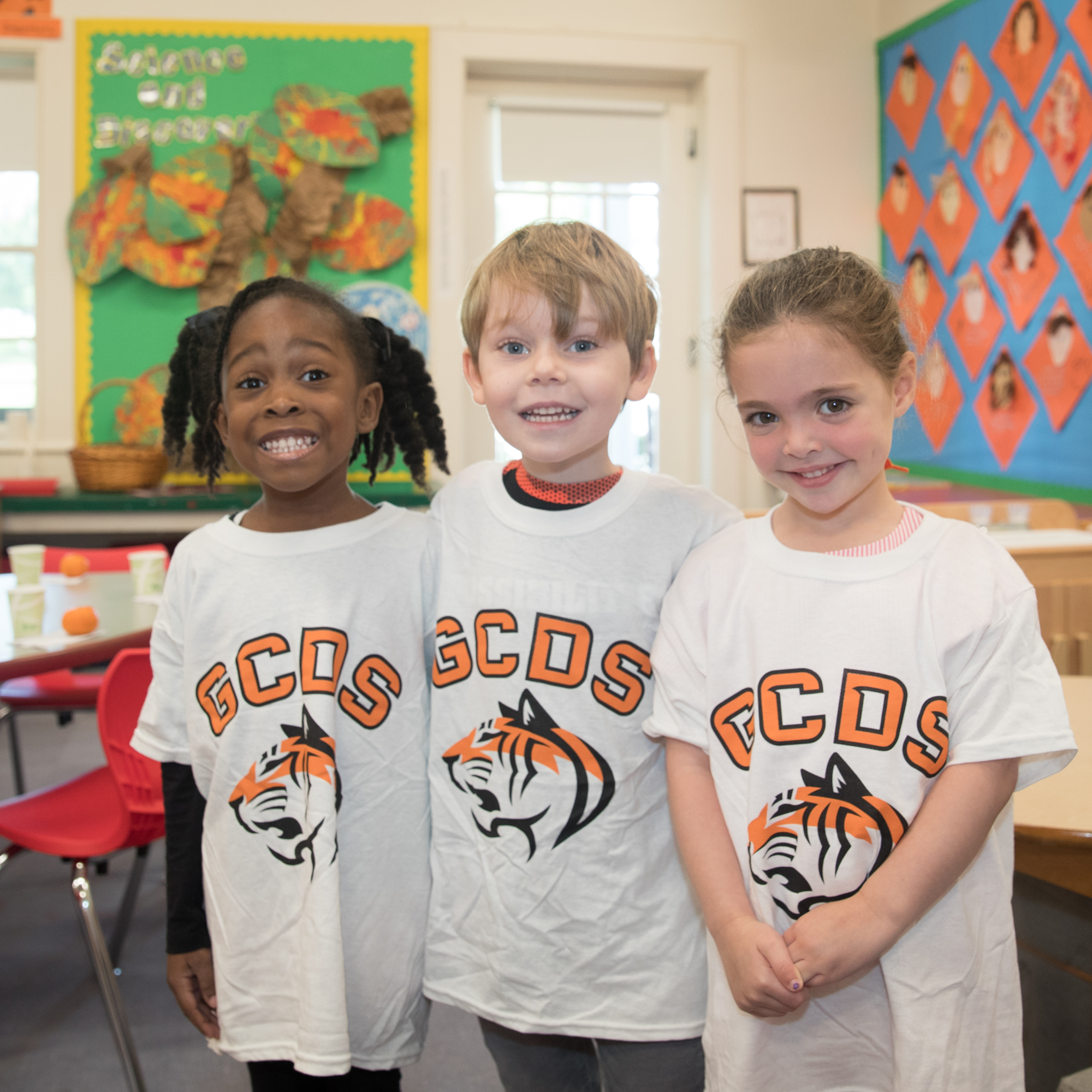 pre-k students in tiger shirts